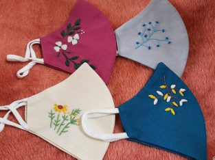 Cotton embroider face mask